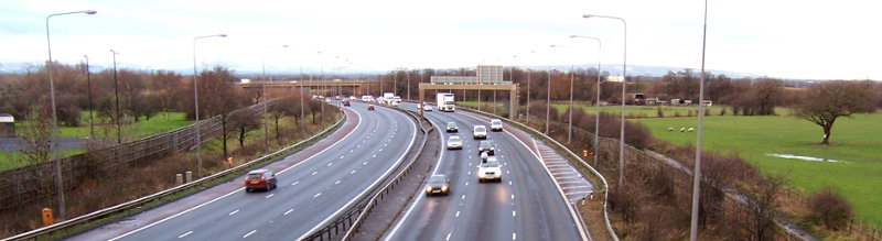 Like all motorways, the M6 near Preston has a 70mph limit due to an obscure legal order. Click to enlarge