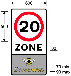 "A 20 zone sign in TSRGD, complete with ""Beesworth"" name panel"