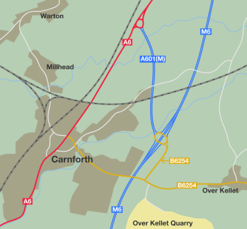 The A601(M) today, shorter than before and only connected to the M6 via a B-road.