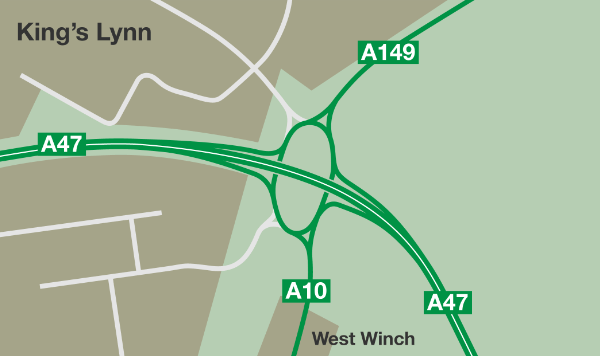 The final layout envisaged by the junction's designers in the 1970s, but never built
