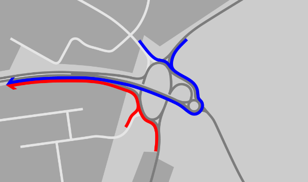 Journeys towards the bypass are distributed in the same way, and with only the smallest points of overlap