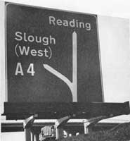 Early motorway signage/ on the M4