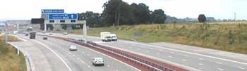 The M1 east of Leeds, opened in 1999 and seen here two years later