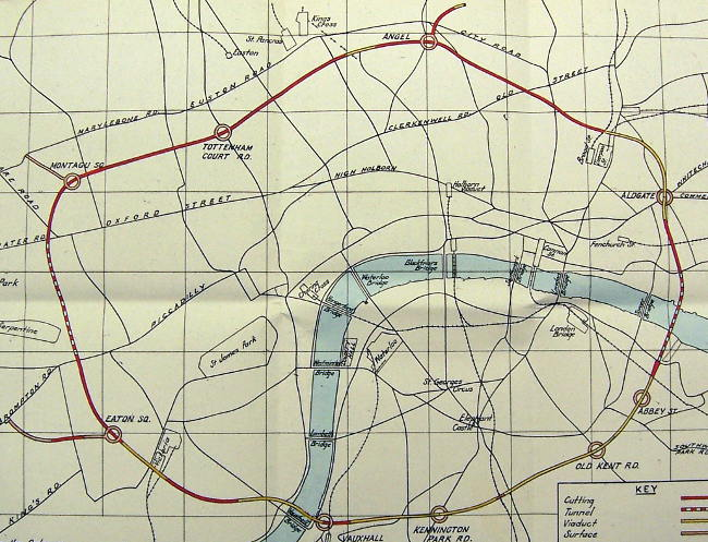 A 1948 LCC plan of the Arterial A-Ring, showing junctions and spurs. Click to enlarge