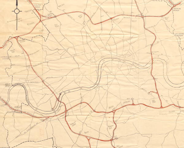 An early draft of the London Motorway Box from no later than 1963. Click to see the full map