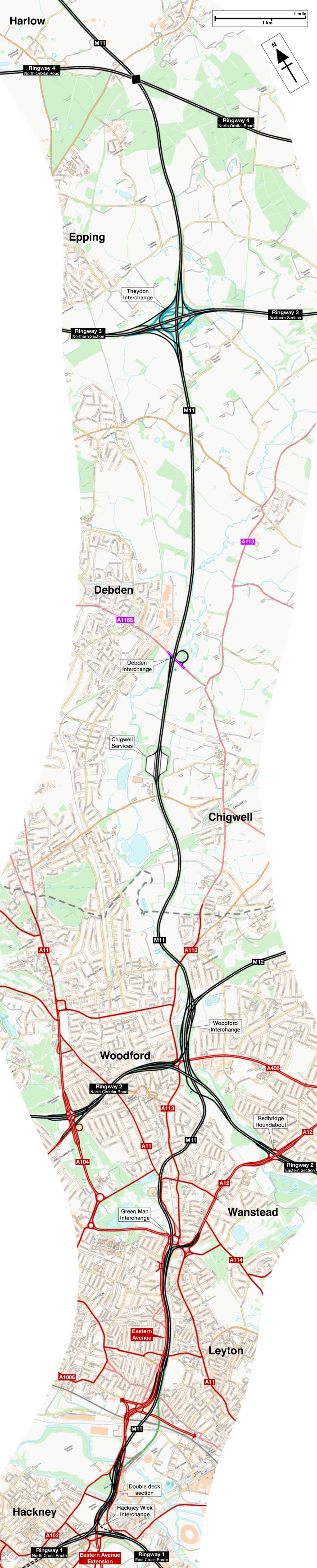Map of the M11