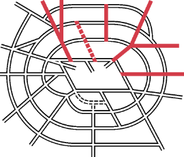 Diagram showing the northern radials within the overall Ringways plan