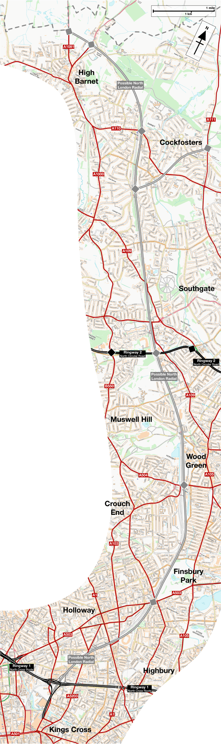Map of the Possible North London Radial