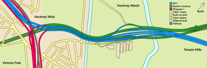 Plan-accurate drawing of the complex double-deck layout and braided interchange planned between Hackney and Temple Mills. Click to enlarge