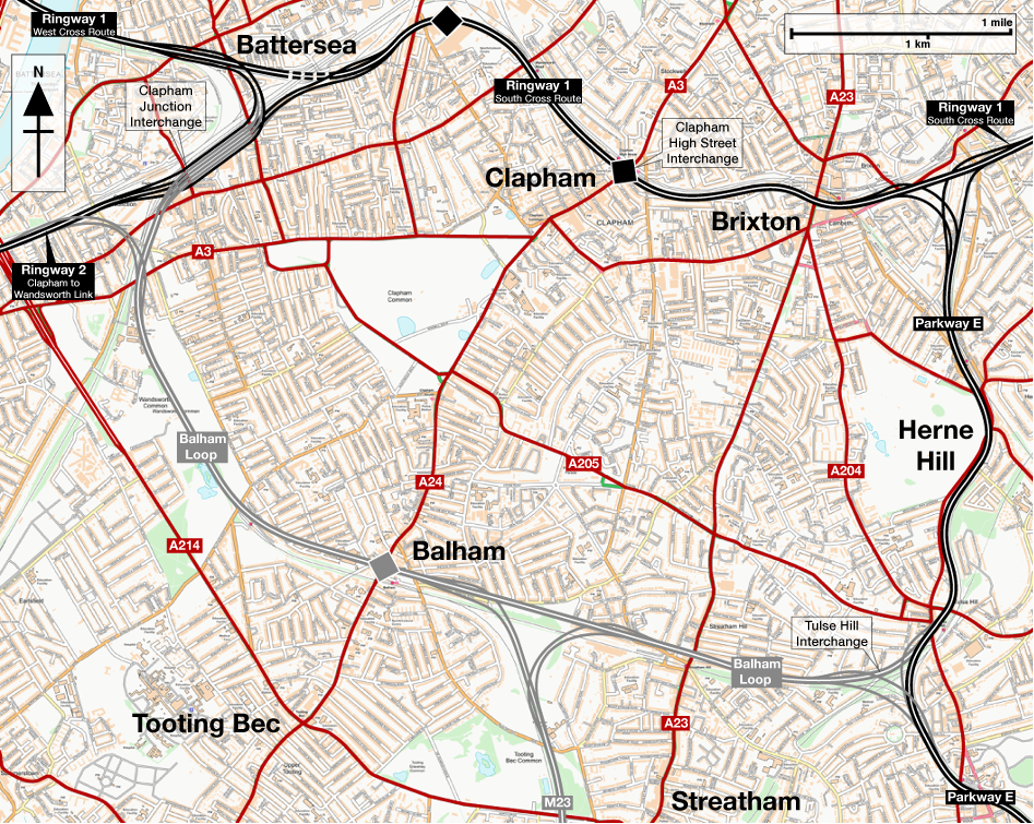 Map of Ringway 1 Balham Loop