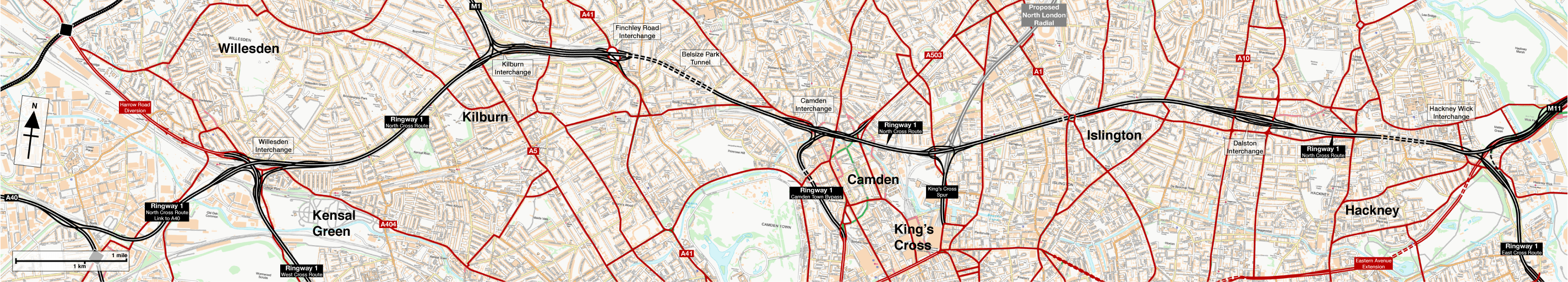 Map of Ringway 1 North Cross Route