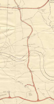 The LCC's original plan for the East Cross Route, running via Whitechapel and New Cross. Click to enlarge