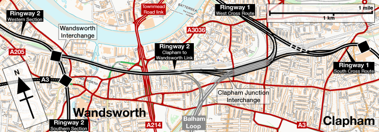 Route map of the Clapham-Wandsworth Link