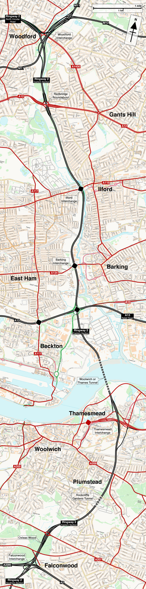 Map showing the route of Ringway 2 Eastern Section