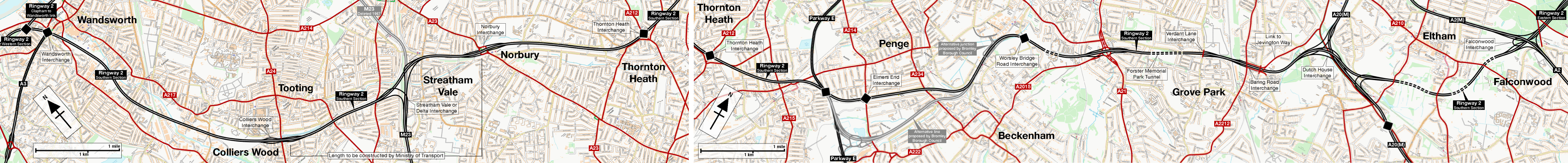 Route map of Ringway 2's Southern Section