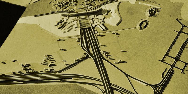 Architectural model showing Thamesmead Interchange, with Ringway 2 descending into tunnel at the top of the picture. Only parts of Thamesmead itself are modelled. Click to enlarge