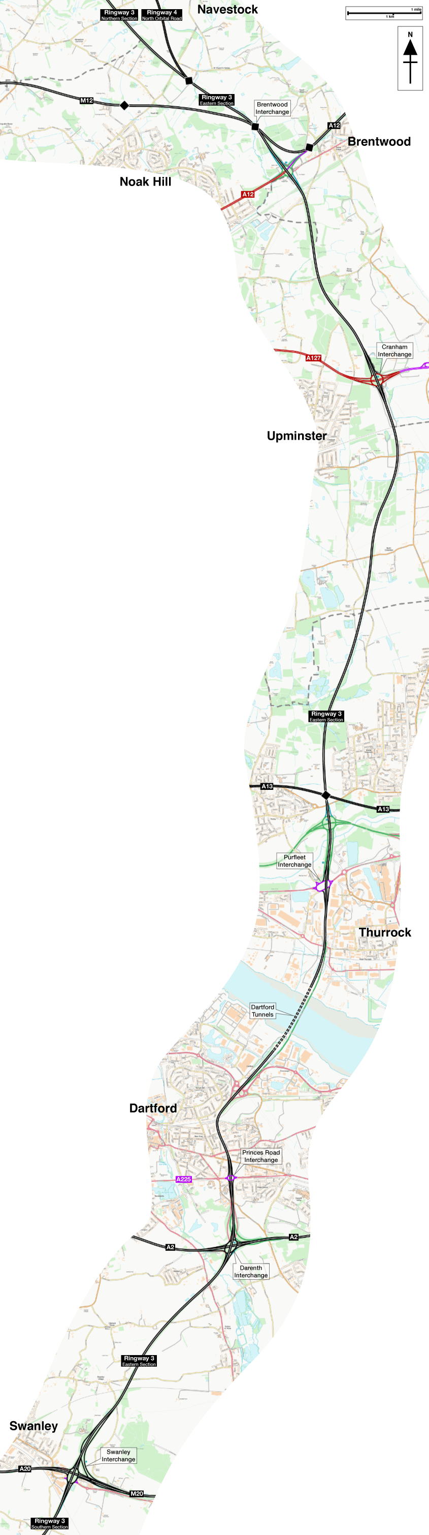 Map of Ringway 3 Eastern Section