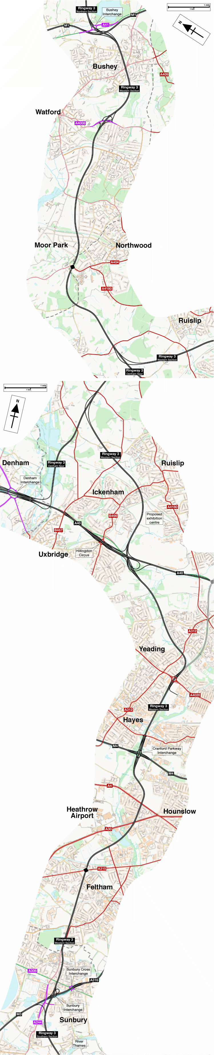 Map of the Ringway 3 Western Section