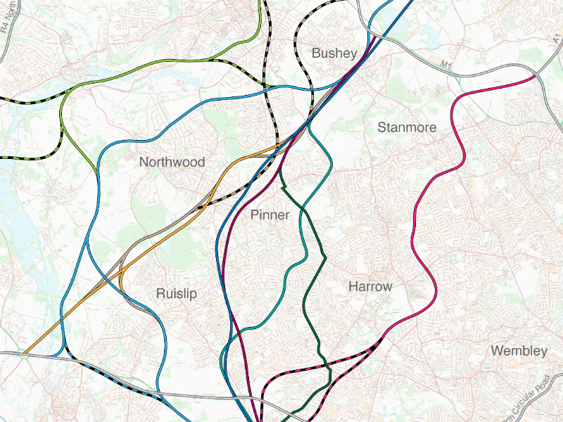 Overview of all alignments proposed for Ringway 3 between A40 and M1, 1944-1973. Click for full size version with key