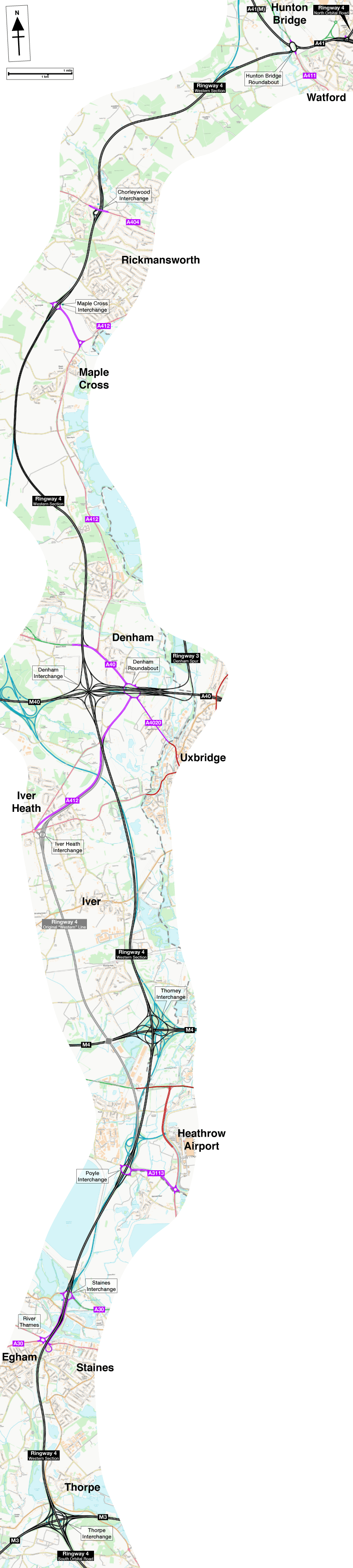 Map of Ringway 4 Western Section