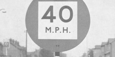 1950s standards included this unusual 40mph speed limit sign