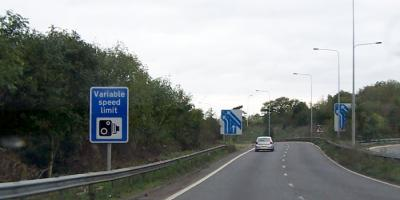 A sign advising of Variable Speed Limits on approach to the M20. Click to enlarge