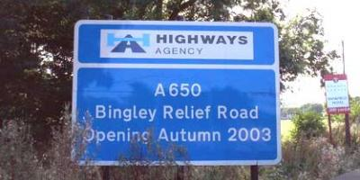 The A650 Bingley Relief Road, opened as a trunk road in 2003 but now managed by a local authority