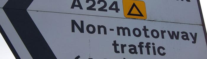 Diversion symbol for the M25 southbound placed on the A224. Click to enlarge