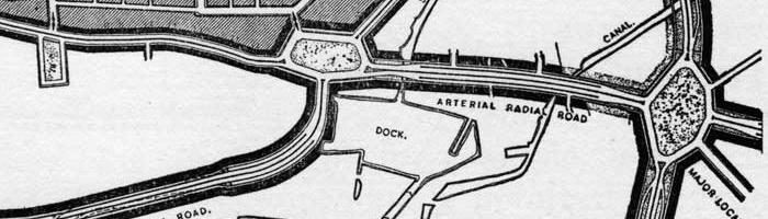 Pentagonal and hexagonal roundabouts from the County of London Plan 1943. Click to enlarge
