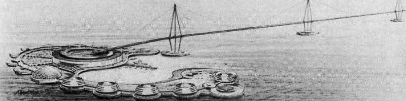Sketch of one of EuroRoute's artificial islands. Click to enlarge