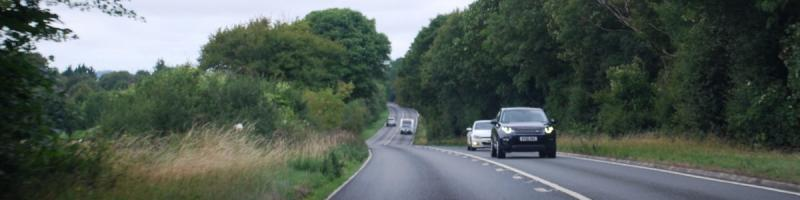 A pleasant drive without a caravan in front: the open road rolling across the edges of the Cotswolds. Click to enlarge