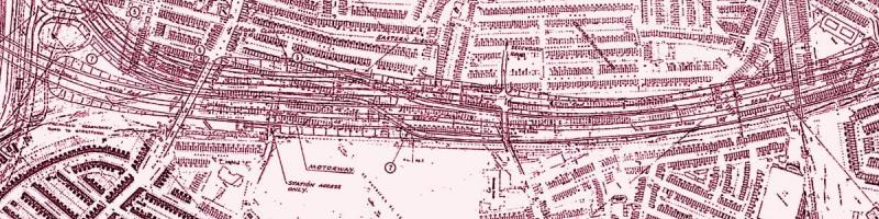 A 1968 engineering plan shows the parallel M11 and Eastern Avenue occupying a wide swathe of land alongside the Central Line at Leyton. Click to enlarge