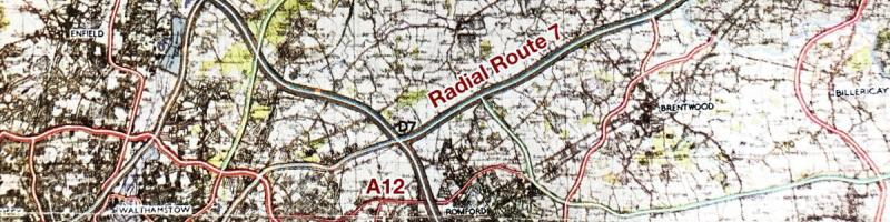 Abercrombie's proposed Radial Route 7 would bypass the A12 Eastern Avenue in its entirety, 1944. Click to enlarge