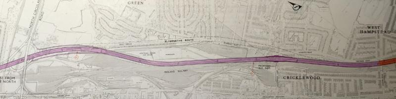Engineering plan of the unbuilt M1 at Cricklewood, with alternative line through Brent Terrace. Click to enlarge