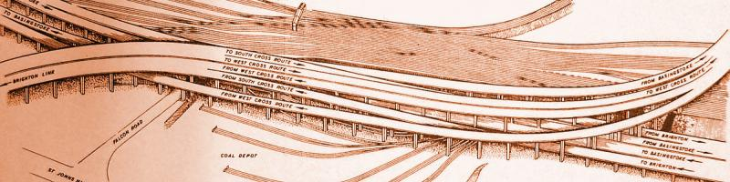 Artist's impression of the double-deck braided section between the Ringway 1 and Balham Loop interchanges, which would not have appeared in the final plan. Click to enlarge