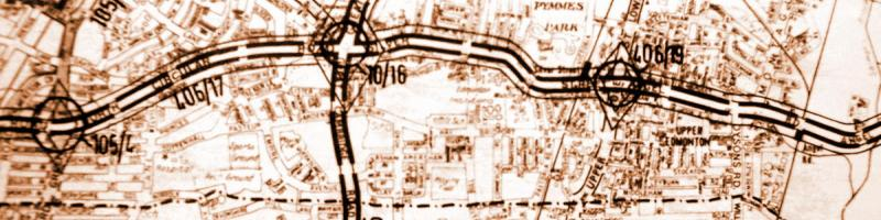 A 1965 GLC planning map shows - barely legibly - the North Circular to be improved on its existing line, with diamond symbols at each junction. Click to enlarge