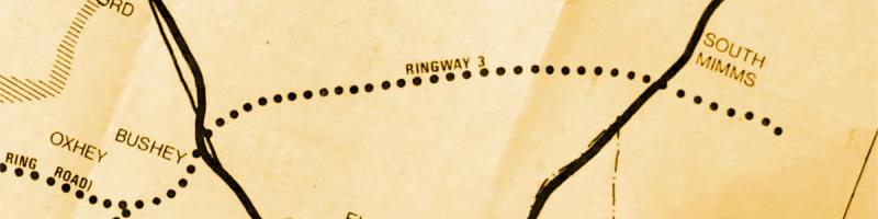 The M1-A1 length of Ringway 3 on a 1971 Department of the Environment planning document. Click to enlarge