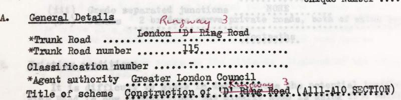 "The ""D"" Ring Road becomes Ringway 3 in a handwritten correction to MOT paperwork. Click to enlarge"