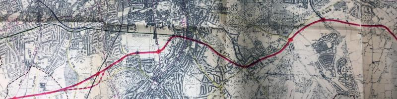 The 1965 GLC Route Study takes an entirely different line through Croydon. Click to enlarge