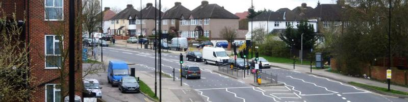 "The A312 Pett's Hill at South Harrow, one of the unlikely suburban roads commandeered for the ""D"" Ring. Click to enlarge"