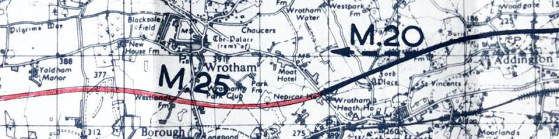 A 1968 key plan shows the M25 South Orbital Road meeting the M20 at Wrotham in Kent. Click to enlarge