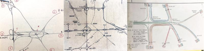 "Ideas sketched for the ""Denham Complex"" in 1965 and 1969, and a 1970 diagram of traffic flows through the proposed junction. Click to enlarge"