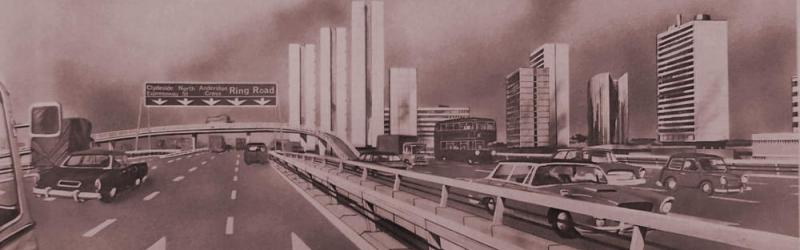 Artist's impression of what is now the M8 Kingston Bridge northbound