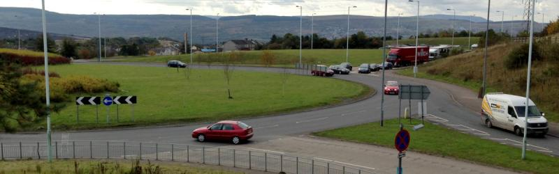 The huge roundabout at Dowlais Top was laid out in 2002 to allow a flyover to be built to continue the expressway west. Click to enlarge