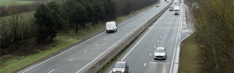 "The A50 near Hilton in Derbyshire, surfaced with ""whisper concrete"". Click to enlarge"