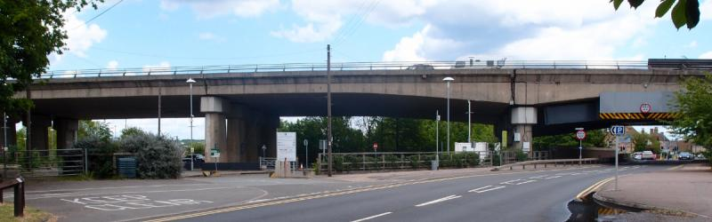 The viaduct at Huntingdon, structurally unsound and propped with steel beams, will be demolished as a matter of urgency. Click to enlarge