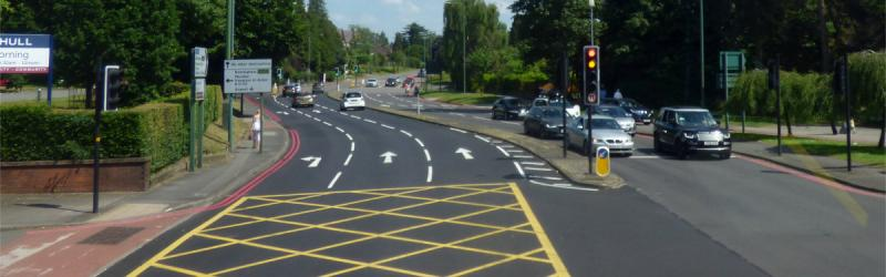 A yellow box on the B4102 Warwick Road in Solihull. Click to enlarge