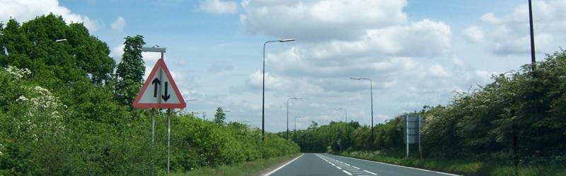 The A6144(M), once one of the UK's most bizarre motorways, seen in 2006. (Yes, this was a motorway.) Click to enlarge