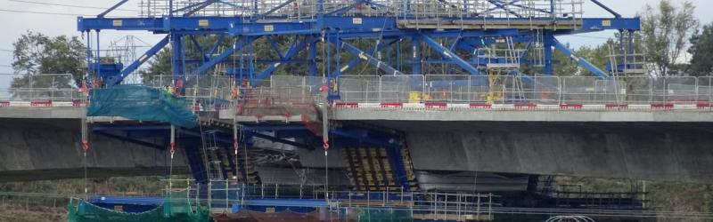 Shuttering apparatus on the Don bridge as the central section is re-cast, September 2018. A gap in the deck is just visible. Click to enlarge