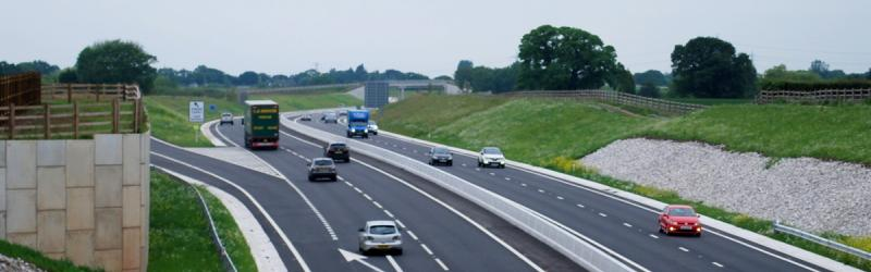 The brand new A556 between Bowdon and Knutsford: linking two motorways, designed for motorway traffic, but not a motorway - and that's perfectly normal. Click to enlarge